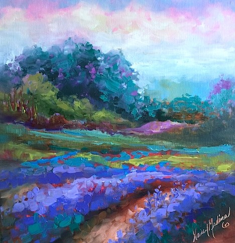 """Painting in Provence - Cotton Candy Skies and Lavender - Nancy Medina Art"" original fine art by Nancy Medina"