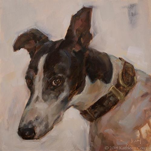 """""""Day 9 - Greyhound"""" original fine art by Kathleen Coy"""
