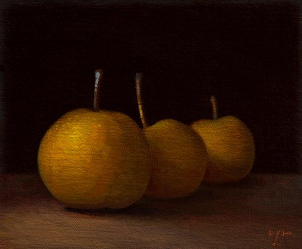"""Three Asian Pears in Late Afternoon Light   (+ studio photos)"" original fine art by Abbey Ryan"