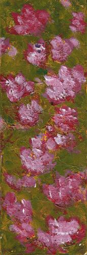 """Pink Flowers on Olive II"" original fine art by Donna Vieth"