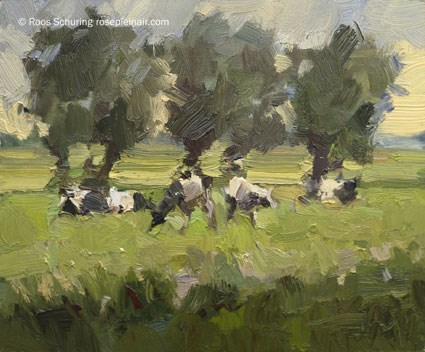 """LSU 3 ""Cows and Trees"" (available)"" original fine art by Roos Schuring"