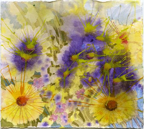 """Yellow & Purple"" original fine art by Eileen Hennemann"