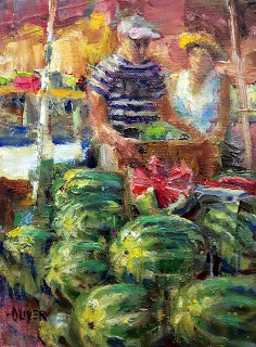 """Watermelon Time."" original fine art by Julie Ford Oliver"