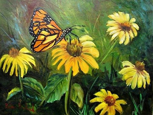 """A Butterfly and Yellow Coneflowers"" original fine art by Barbara Haviland"