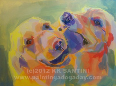 """Tussle, In Process"" original fine art by Kimberly Santini"