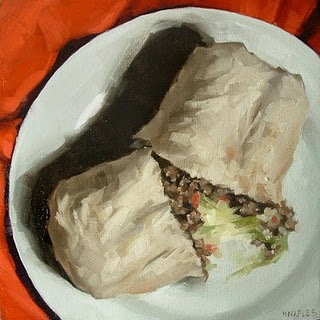 """Split Burrito"" original fine art by Michael Naples"