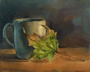 """""""Morning Coffee with Leaf"""" original fine art by Michael Naples"""