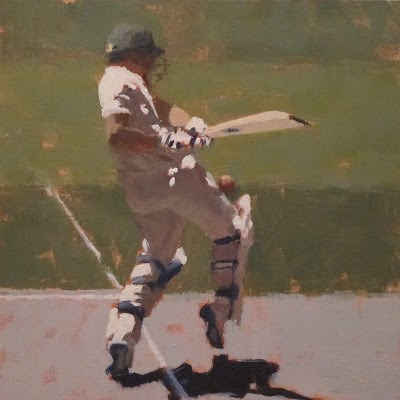 """BATSMAN 8 - Cricket at the MCG"" original fine art by Helen Cooper"