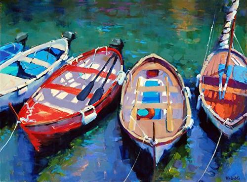 """Vernazza Boats"" original fine art by Trisha Adams"