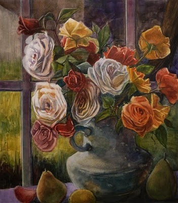 """Watercolor: Milk Pitcher Roses (& Finding your Own Style as a Painter)"" original fine art by Belinda Del Pesco"