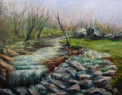 """Gentle Falls, 8x10 acrylic landscape"" original fine art by Donna Pierce-Clark"