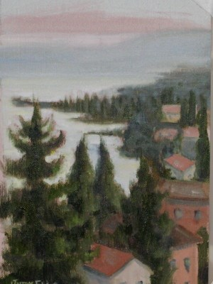 """View of Lake Garda fom the Convent of San Tomaso"" original fine art by Judy Elias"