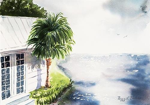 """""""Island Cottage"""" original fine art by Peggy Bishop"""