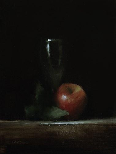 """Apple with Wine Glass"" original fine art by Neil Carroll"