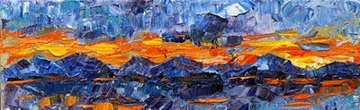 """Abstract Landscape Painting Last Light by Colorado Impressionist Judith Babcock"" original fine art by Judith Babcock"