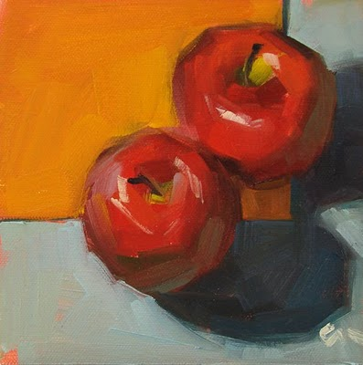 """Demo Apples & Self Portrait --- SOLD"" original fine art by Carol Marine"