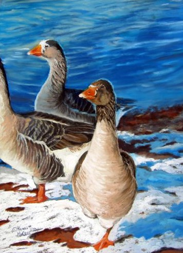 """Original Pastel Geese Painting Geese at Corn Lake by Colorado Artist Nancee Jean Busse"" original fine art by Nancee Busse"