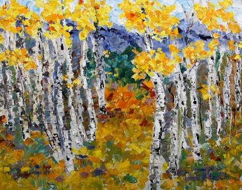 """Original Palette Knife Aspen Tree Landscape Painting Aspen Symphony  by  Colorado Impressionist Ju"" original fine art by Judith Babcock"