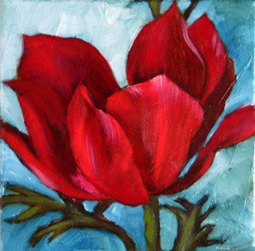 """Flora in Red"" original fine art by Mary  Van Deman"