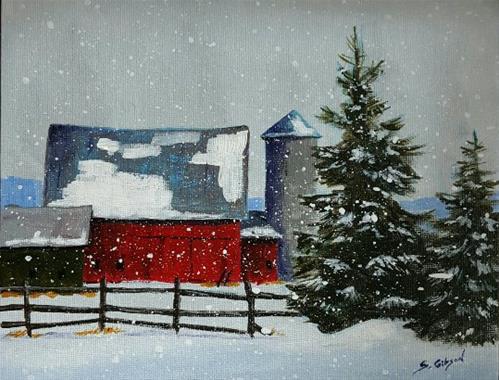 """""""Curtis Tibbets Farm"""" original fine art by Steve Gibson"""
