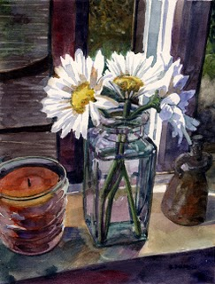 """Watercolor: Study for Daisy Trio"" original fine art by Belinda Del Pesco"