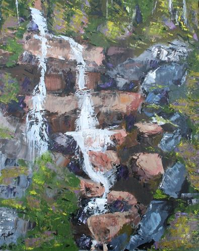 """Rock Cascade"" original fine art by Reisa Peters"