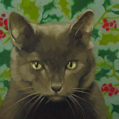 """Serious Coco painting christmas cat holly pattern"" original fine art by Diane Hoeptner"