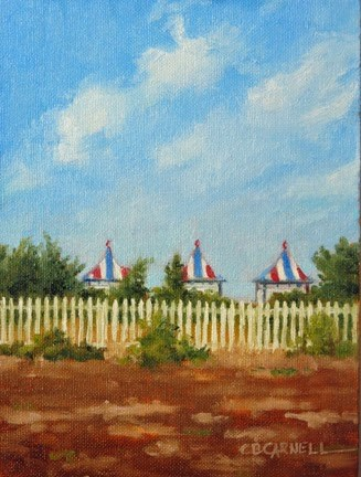 """'Chappaquiddick Cabanas' An Original Oil Painting by Claire Beadon Carnell 30 Paintings in 30 Days C"" original fine art by Claire Beadon Carnell"