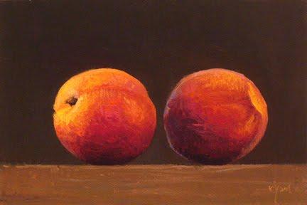 """""""Two Peaches in the Sun (Schuylkill River)"""" original fine art by Abbey Ryan"""