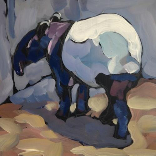 """Tapir Touching the Wall"" original fine art by Kat Corrigan"