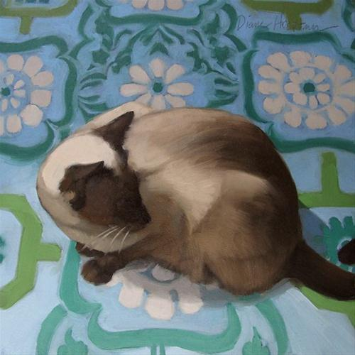 """Siamese Looks Back small oil painting of cat"" original fine art by Diane Hoeptner"