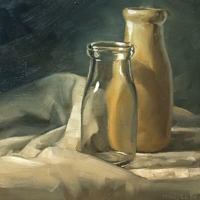 """""""Antique Milk Bottles"""" original fine art by Michael Naples"""