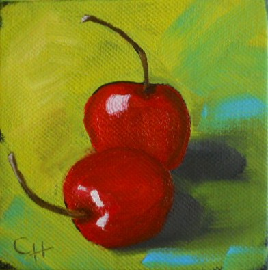 """Cherries on Green"" original fine art by Claire Henning"