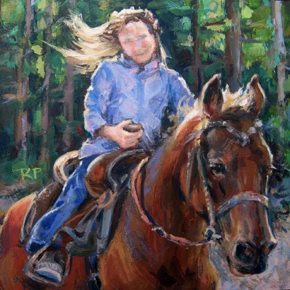 """Ride 'em Cowgirl II"" original fine art by Robin Peterson"