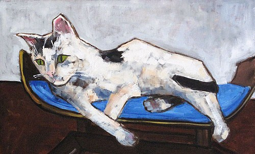 """Lounge Cat"" original fine art by Kevin Inman"