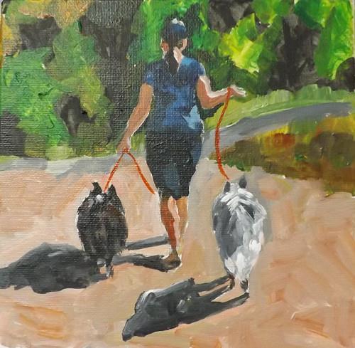 """""""A lady holding two dogs,u4"""" original fine art by Run-      Zhang Zane"""