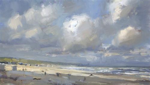 """Seascape spring # 10 - Aan zee"" original fine art by Roos Schuring"