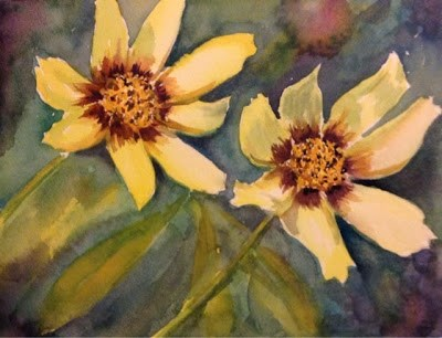 """Day 27 - Coreopsis"" original fine art by Lyn Gill"