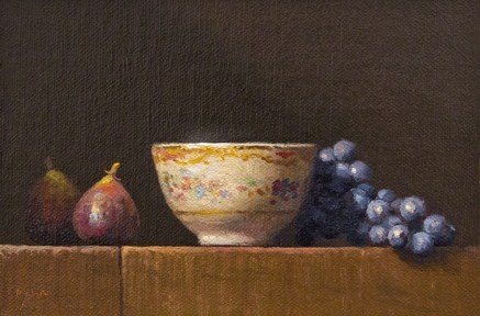 """Still Life with Figs, Teacup and Concord Grapes (+ the song Artist In Me)"" original fine art by Abbey Ryan"