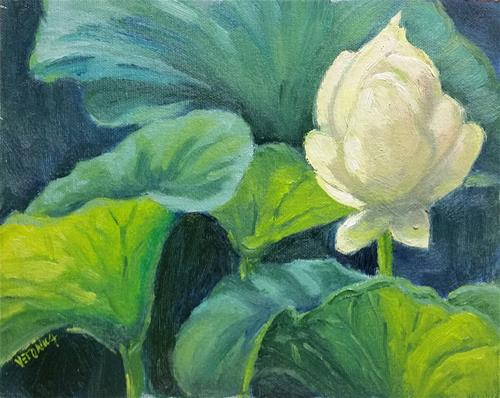 """Lily pads-en plein air"" original fine art by Veronica Brown"