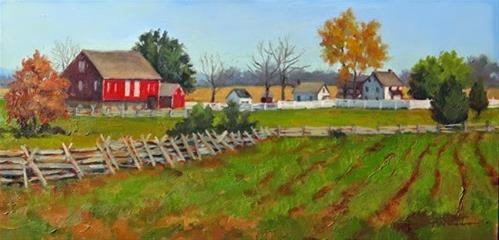 """'Autumn on the Henry Spangler Farm' An Original Oil Painting by Claire Beadon Carnell"" original fine art by Claire Beadon Carnell"