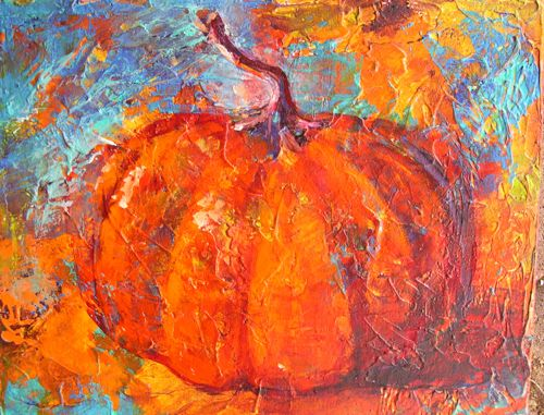 """Fall Leaves and Pumpkin 11 x 14 Mixed Media Painting"" original fine art by Amy Whitehouse"
