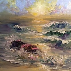 """Wave Study Three, 6 x 6, Oil, Seascape"" original fine art by Donna Pierce-Clark"