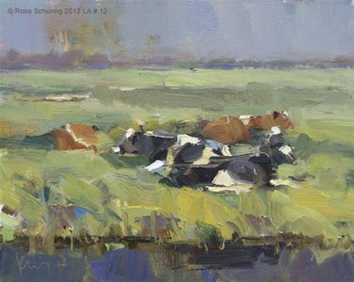 """Landscape autumn #12 Autumn (morning) sun and cows"" original fine art by Roos Schuring"