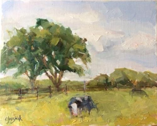 """Hard to Get a Cow to Pose"" original fine art by Carol Josefiak"