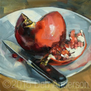 """Oil Painting: Pomegranate"" original fine art by Deb Anderson"