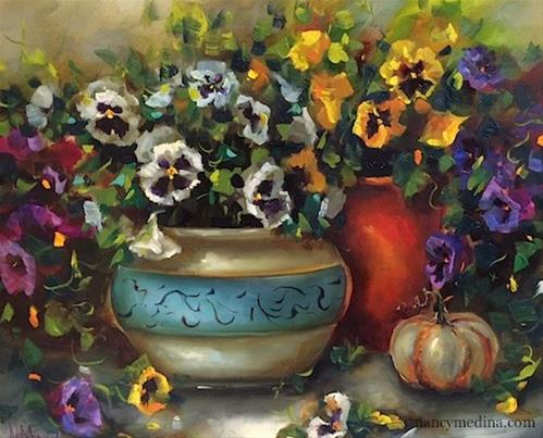 """Pumpkin and Pansy Celebration and a Missouri Workshop - Flower Paintings by Nancy Medina"" original fine art by Nancy Medina"