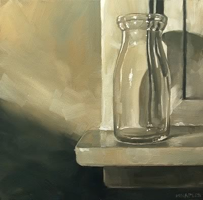 """Milk Bottle On Sill"" original fine art by Michael Naples"