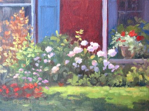 """SUNLIT HYDRANGEAS IN GETTYSBURG  An Original Plein AIr Oil Painting by Claire Beadon Carnell"" original fine art by Claire Beadon Carnell"