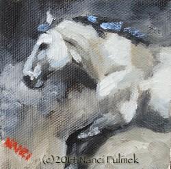 """""""Mustang 4×4 oil on canvas"""" original fine art by Nanci Fulmek"""